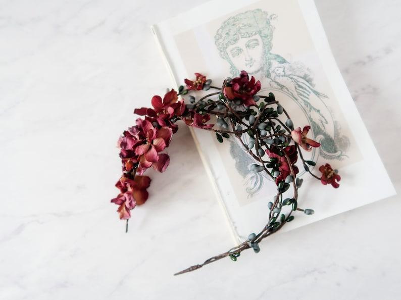 Rustic twig crown woodland headband boho hair crown mauve image 0