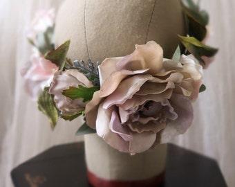 Woodland wedding crown, bride hair wreath, lavender and blush flower crown, boho bridal crown, rose and dogwood headpiece, whimsical circlet