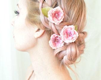 Rose hair pins, pink flower clips, whimsical floral clip, wedding hair piece, bridal hair accessories - Tea roses