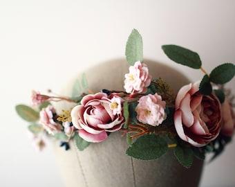 Blush bridal crown, Fall wedding headpiece, mauve flower crown, dusty pink hair crown, woodland circlet, ranunculus and rose wreath