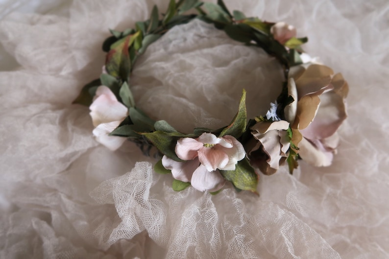 Woodland wedding crown bride hair wreath lavender and blush image 0