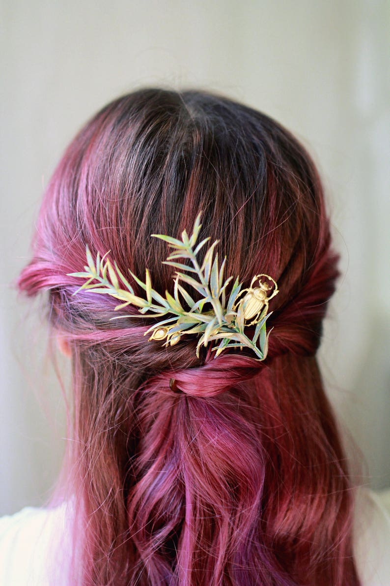 Gold leaf headpiece rosemary and scarab hair adornment image 0