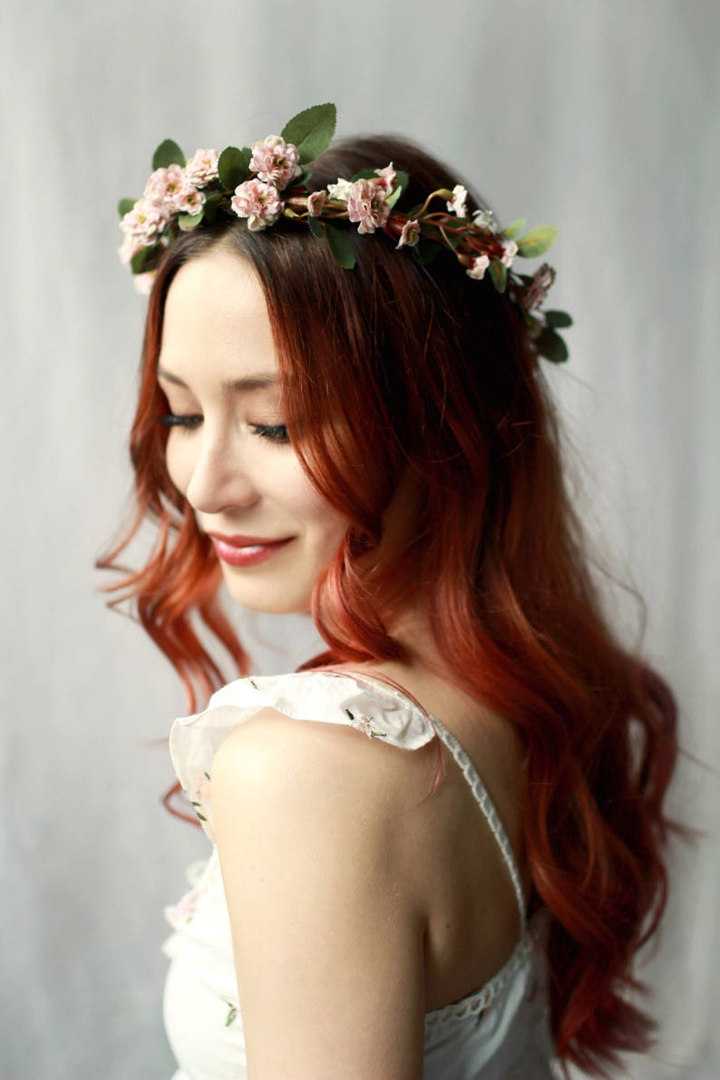 Bridal hair crown wild rose hair wreath blush pink flower image 0