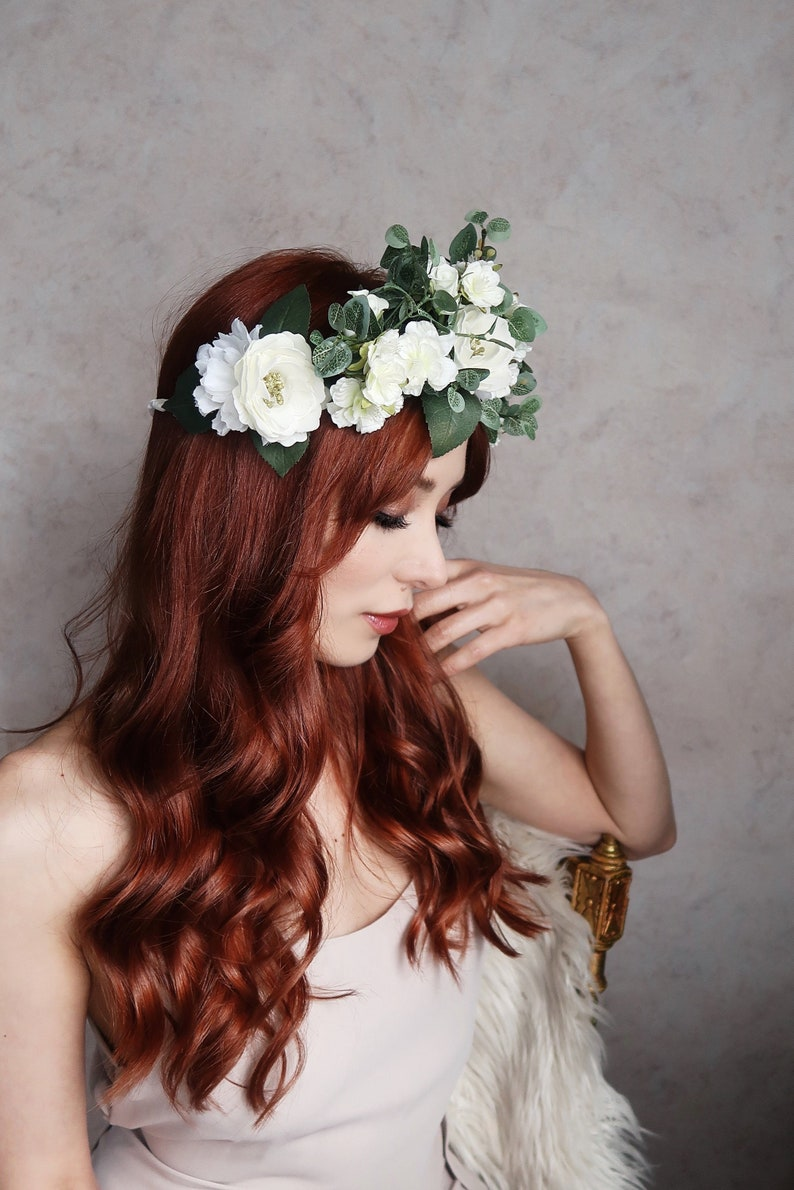Forest fairy hair wreath bridal wedding headpiece boho image 0