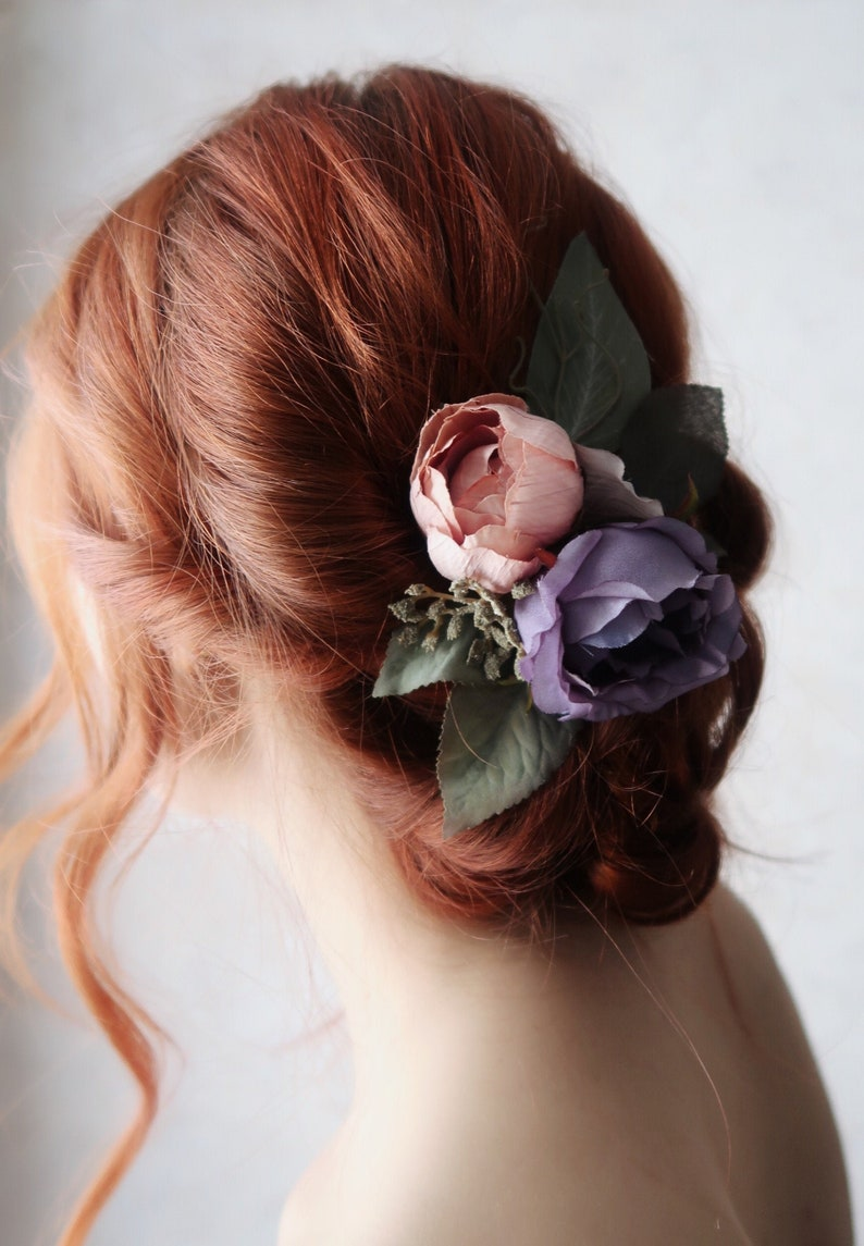 Viola  victorian rose hair clip rustic flower clip purple image 0