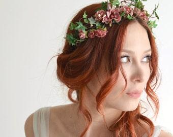 Fall flower headpiece, pink flower crown, ivy headband, rose headpiece, garden wedding, hair accessory by gardens of whimsy