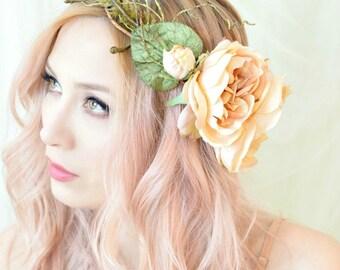 Woodland crown, boho bride headpiece, statement flower crown, peach floral crown,  hair wreath, wedding greenery crown, leafy fern circlet