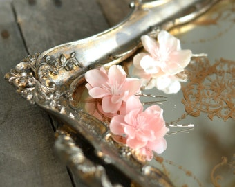 Pink flower bobby pins, floral hair clips, pastel flower clips, blush flower pins, bridal hair pins, hair accessories