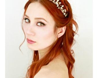 Bridal headpiece, vintage inspired tiara, champagne rhinestone crown, rustic wedding, simple bridal wreath, boho bridal crown, hair circlet