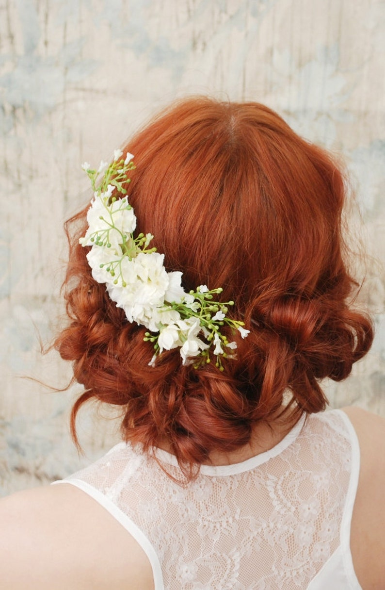 Wedding headpiece white flower comb shabby chic bridal comb image 0