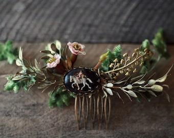 Woodland leaf headpiece, floral hair vine, fern comb, medieval head piece, antique gold comb, rustic wedding, woodland hair accessories,