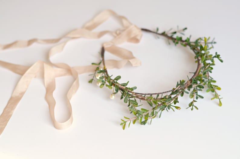 Bridal crown pearl and twig crown leaf crown wedding image 0