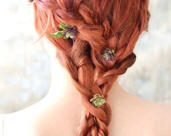Succulent hair pins, rustic bobby pins, hair clip set, autumn hair accessories