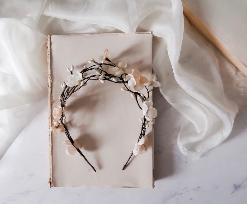 Beige bridal floral crown rustic twig headpiece unique image 0