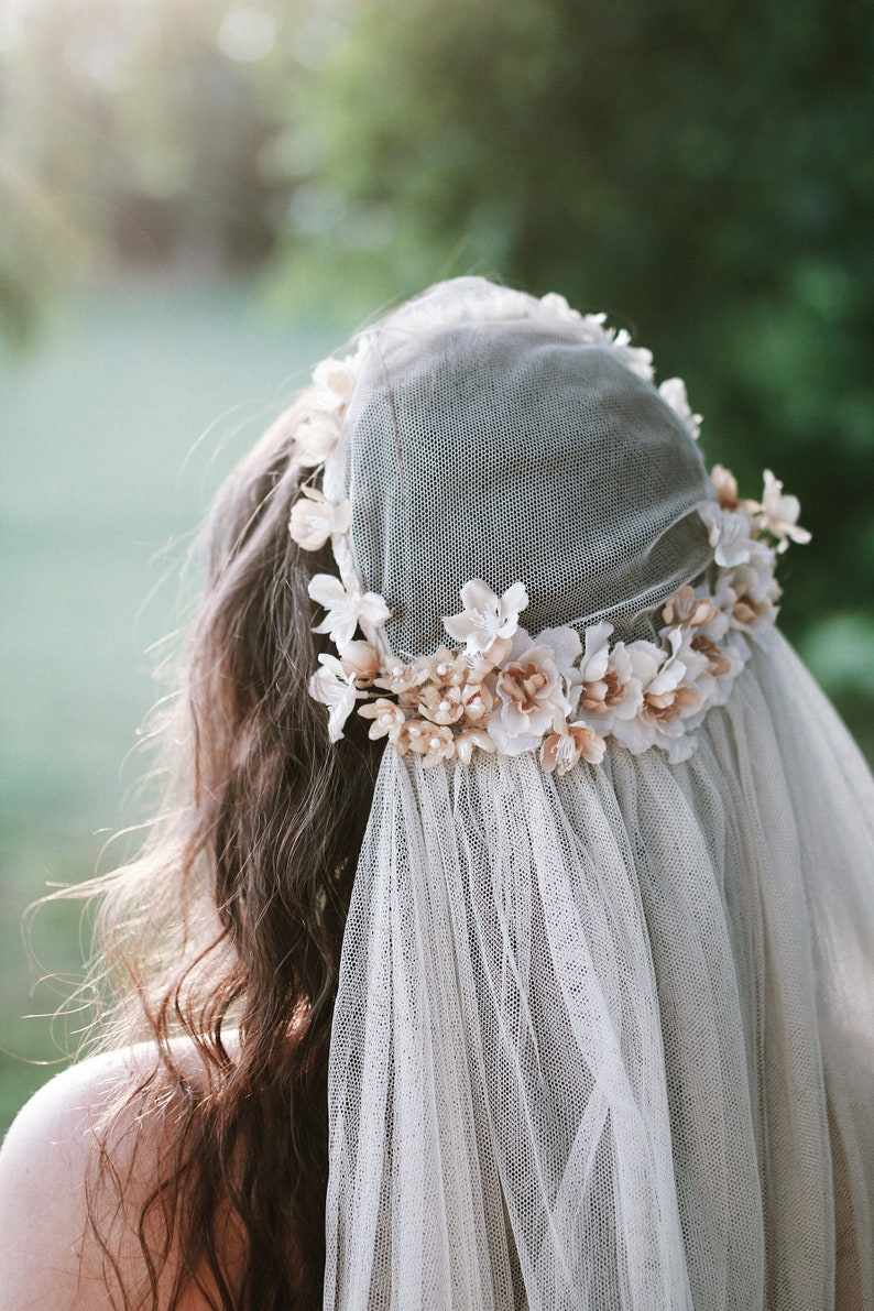Antique wedding veil juliet cap veil vintage bridal image 0