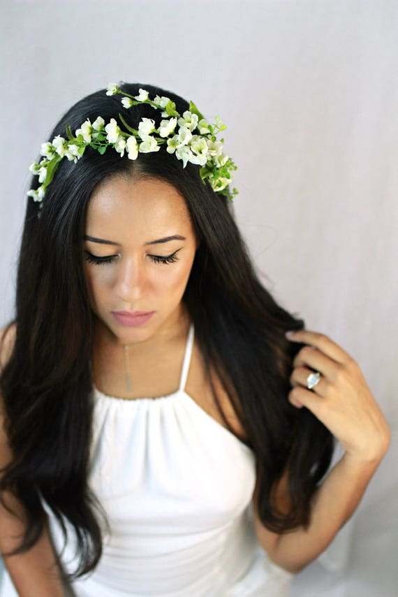 White flower headband boho bridal flower crown simple floral etsy image 0 mightylinksfo