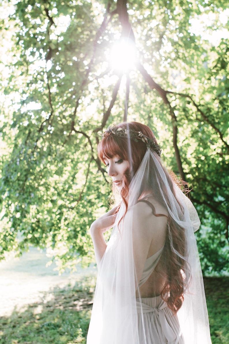 Woodland wedding headpiece with veil Boho bridal crown image 0