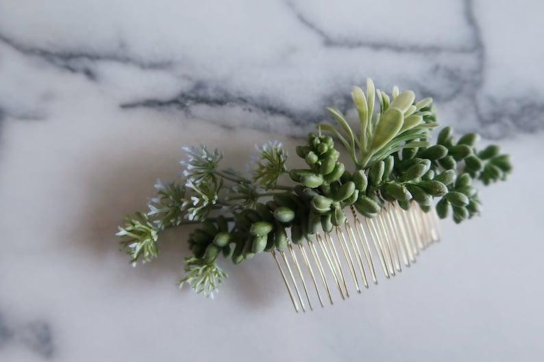 Devon  Succulent hair comb cacti hair accessory greenery image 0