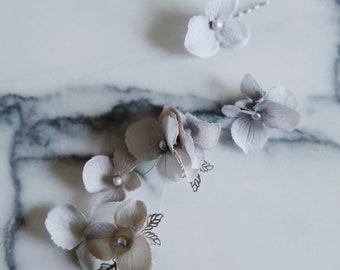 Silver bridal headpiece, dove grey flower clip set, pearl hairpiece, bridal hair clip set, whimsical wedding hair accessories, hydrangeas