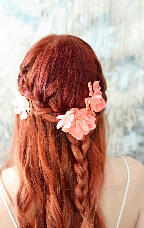 Bridal flower clips salmon pink floral pins flower hair etsy image 0 mightylinksfo
