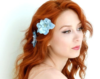 Blue flower clips, floral hair clips, flower bobby pins, bridal hair, wedding hair accessories - Something blue