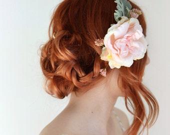 Bridal headpiece, rose comb, wedding flower comb, pink wedding hair piece, woodland hair accessory