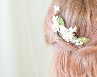 Bridal hair comb, delicate wedding headpiece, floral comb, velvet leaf ivory flower hair piece, hair accessory by Gardens of Whimsy on Etsy