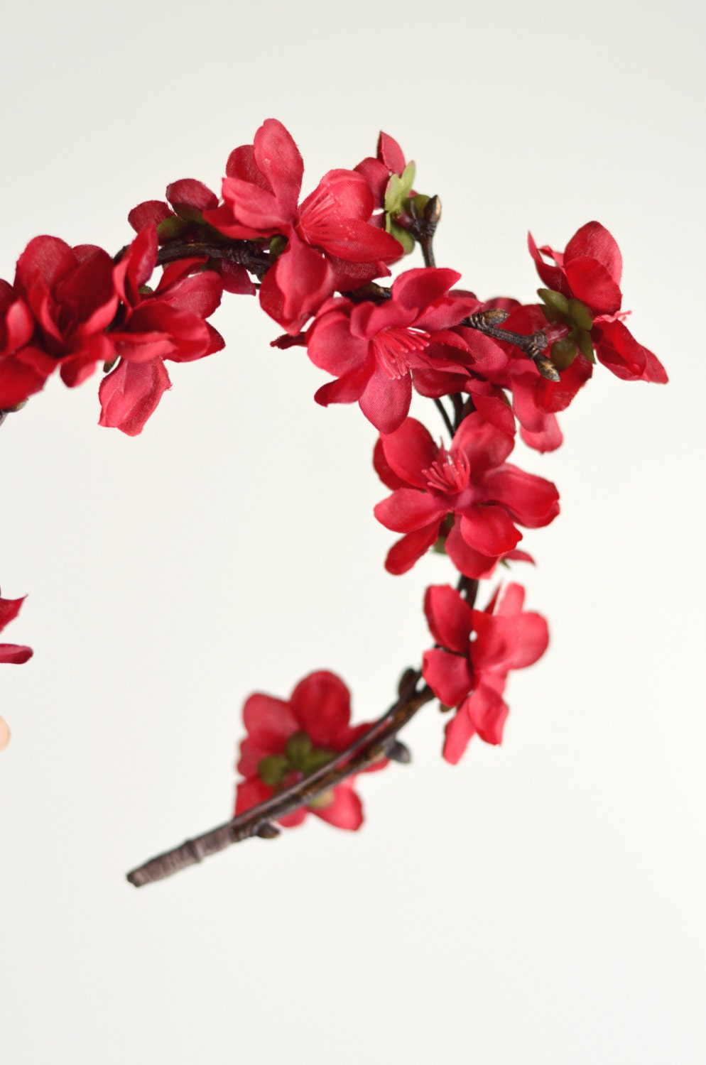 Holiday Flower Crown Red Flower Crown Boho Hair Piece Etsy