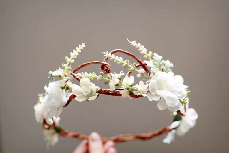 Woodland bridal hair wreath white flower crown floral image 0