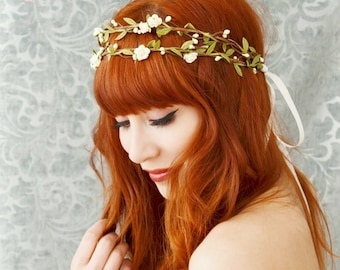 Boho bridal headpiece, ivory flower crown, floral crown, woodland hair wreath, rustic wedding hair accessories - Bohemia