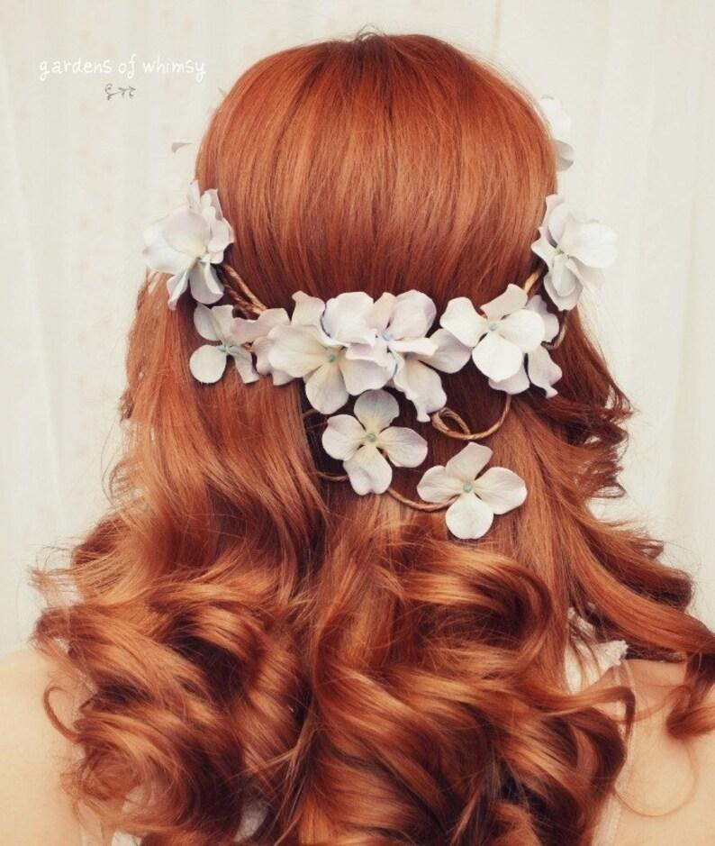 Bridal crown floral headpiece woodland circlet wedding hair image 0