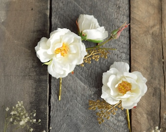 White rose clips, wedding bobby pins, flower hair clips, rose and golden fern hair pins, hair accessories