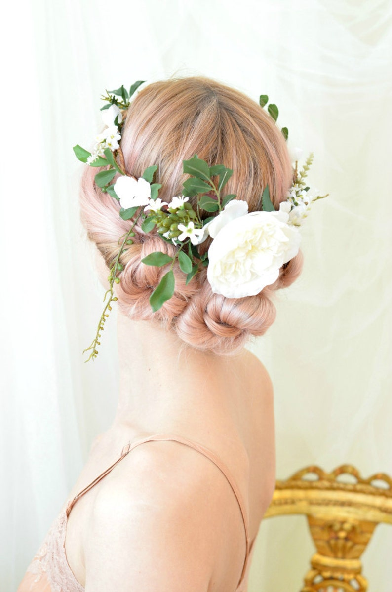 Woodland wedding crown leaf and flower crown white floral image 0