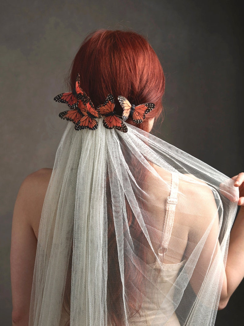 Butterfly headpiece wedding veil bridal veil butterfly image 0