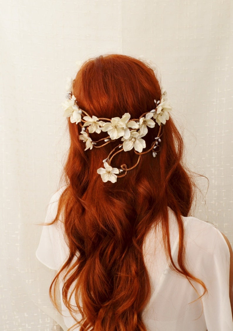 Ivory wedding headpiece ivory flower crown hair wreath image 0