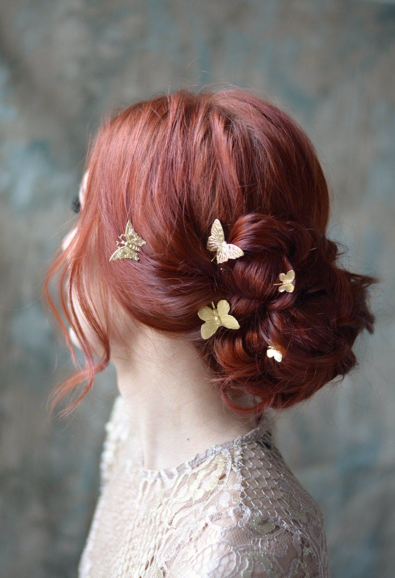 Butterfly bobby pins golden hair pins gilded hair clips image 0