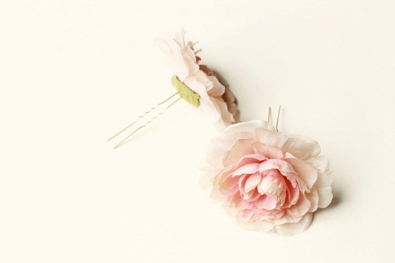 Blush flower hair pins pink ranunculus hair clips flower image 0