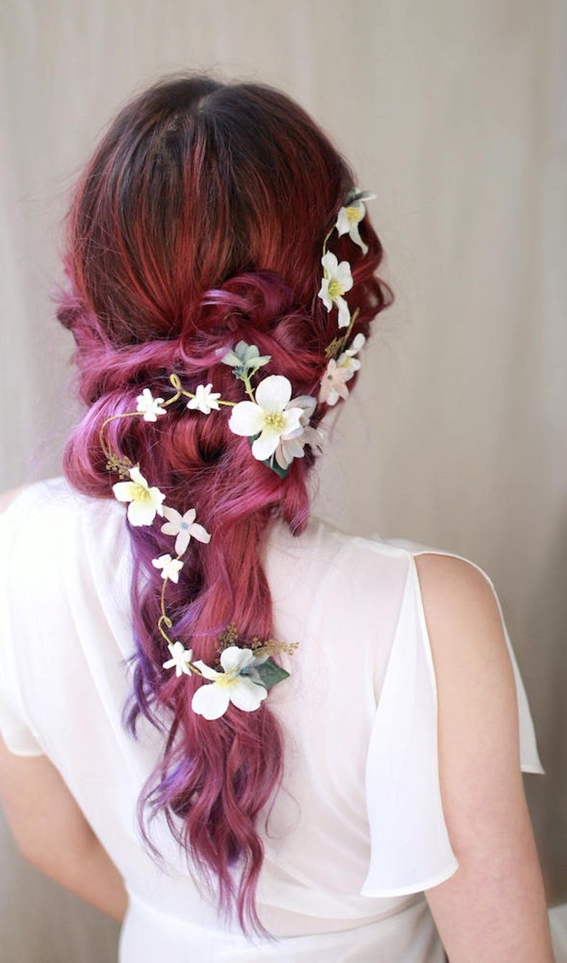 Dogwood hair vine boho wedding headpiece floral hair image 0