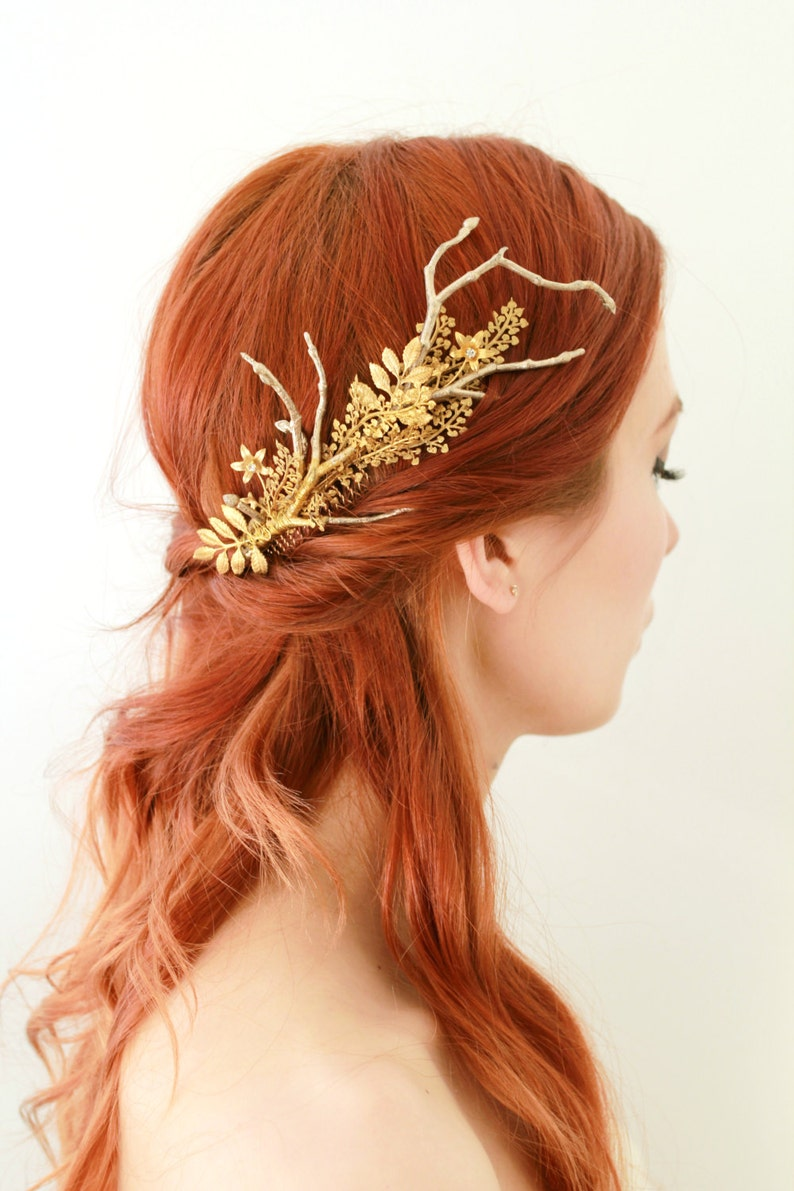 Golden hair comb gilded leaf comb bridal headpiece golden image 0