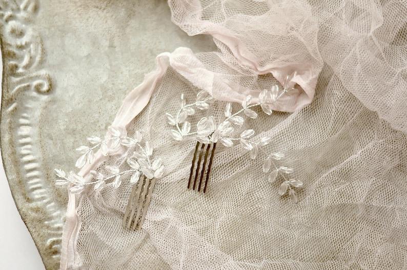 Crystal hair combs wedding hair comb crystal fern combs image 0