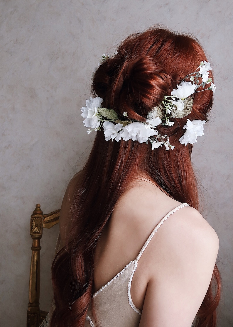 White flower hair clip set wedding flowers for your hair image 0