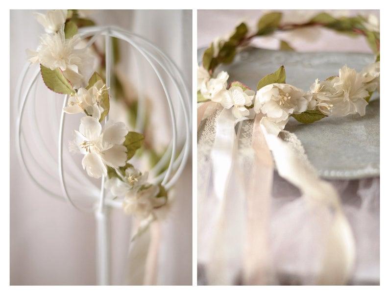 Boho Bridal Flower Crown Vintage Floral Crown Ribbon Veil Ivory Flower Headpiece Floral Circlet Hair Wreath Whimsical Wedding Crown