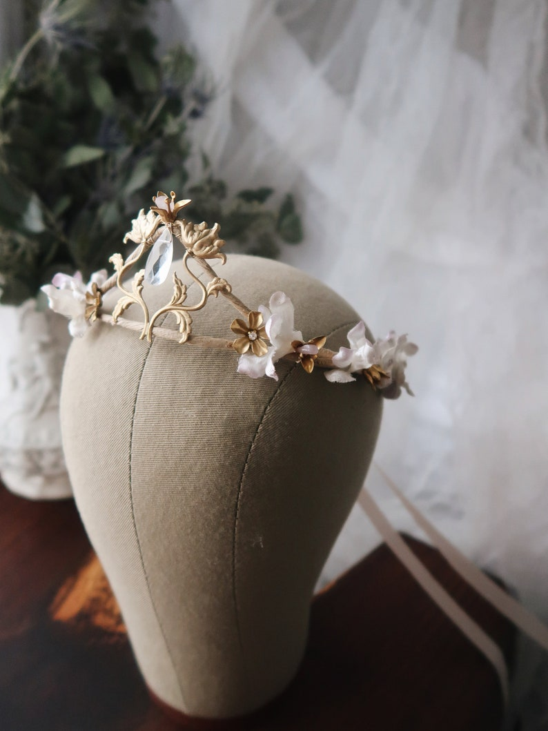 Aurora  fairytale wedding crown crystal headpiece rose image 0