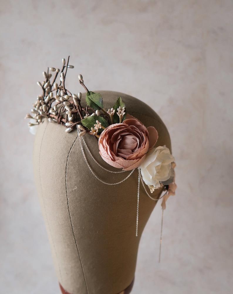 Dusty pink wedding crown goddess hair wreath blush flower image 0