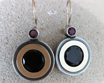 ON SALE...STUNNING Rhodolite Garnet 14k Gold &Sterling Silver 925 Earrings. Rhodolite Garnet Earrings, Garnet 14k 925 Earrings.