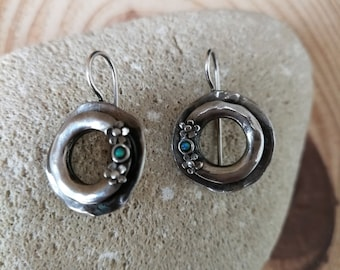 d6474671d Signed Sterling Silver 925 Opal Circle Dangle Drop Lock Back Earrings.Israel  Artisan 925 Opal Circle Dangle Earrings Opal 925 Drop Israeli