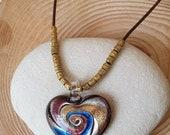 Amethyst Gold Swirls Murano Glass Modern Gold Beaded Cord Necklace. Israel Artisan Murano Glass Purple. Heart Necklace Handmade Murano