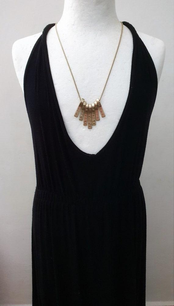 Golden Cleopatra Long Fringe Fan Necklace. Cleopat