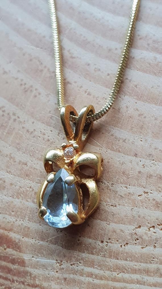 Aquamarine Gold Filled Pendant Necklace. Blue Aqua