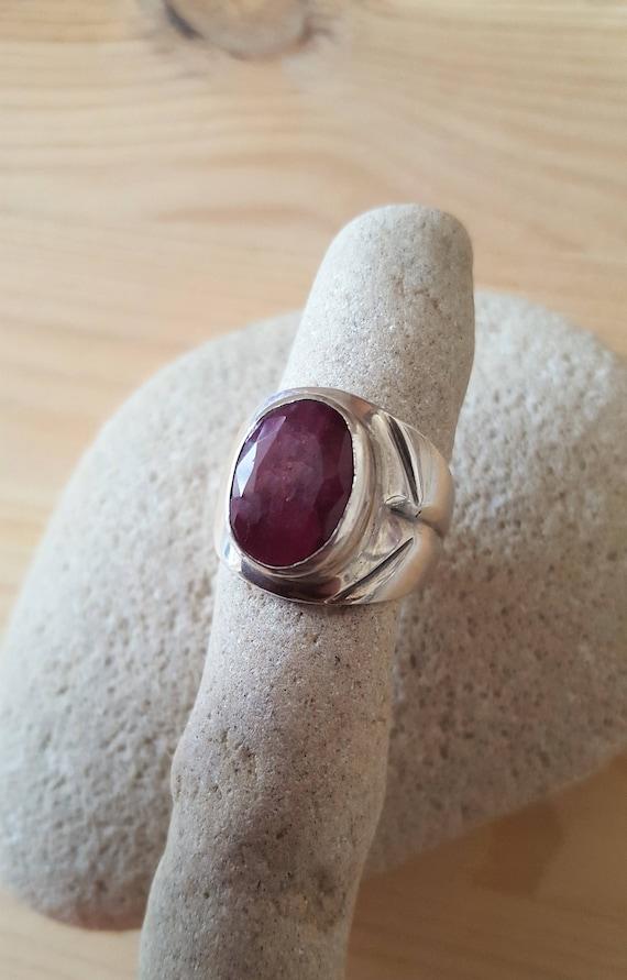 Ruby Sterling Silver 925 Statement Artisan Ring. … - image 8
